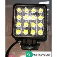 Фонарь LED рабочего света квадрат 48W 10-30V (холодного белого свечения)