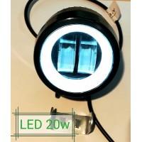 Фонарь LED круглый 20W 9-32V (холодного белого свечения)