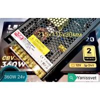 Блок питания  LUXDriver 360W  24V  15A  IP20 (без кулера) LEDSPOWER