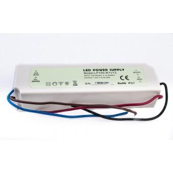Блок питания для светодиодной ленты 12 В 100W 12V  8.3A  IP67 (в пластиковом корпусе)