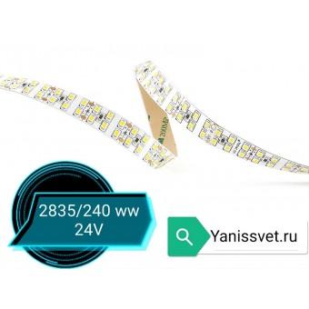 Светодиодная лента SMD2835/240 19.2w 24V IP20 (теплого белого свечения) LED CRYSTAL