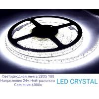 Светодиодная лента LUX  SMD2835/180  14.4W  24V  IP20  (нейтрального белого свечения ) LED CRYSTAL