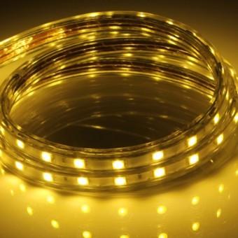 Светодиодная лента 220 вольт 3528 60, IP67, 4.8Вт (желтого свечения)