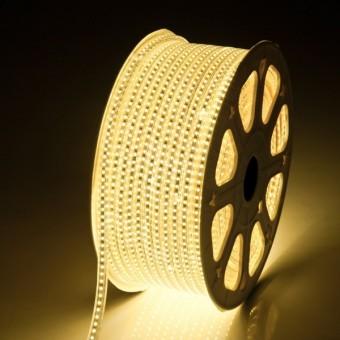 Светодиодная лента 220 вольт 3528 60, IP67, 4.8Вт (теплого свечения)
