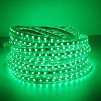 Светодиодная лента 220 вольт 3528 60, IP67, 4.8Вт (зеленого свечения)