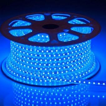 Светодиодная лента 220 вольт 5050 60, IP67, 14.4Вт (синего свечения)