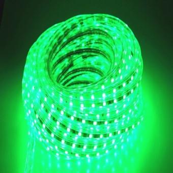 Светодиодная лента 220 вольт 5050 60, IP67, 14.4Вт (зеленого свечения)
